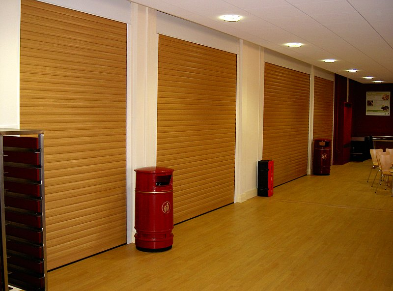 row of shutters at a restaurant canteen
