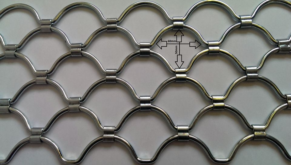 Detail with dimensions of armourshield roller grille curtain: 60mmW x 50mmH.