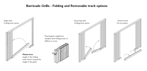 Technical drawing of a retractable collapsible security gate with folding and removable options.