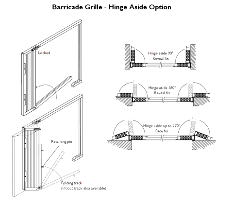 Technical drawing of a retractable collapsible security gate with hinge aside options.