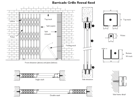 Technical drawing of a retractable collapsible security gate in reveal fixed position.