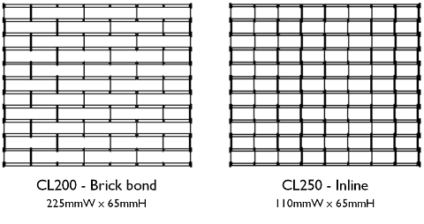 diagrams showing brickbond and inline patterns for the chainlink grille