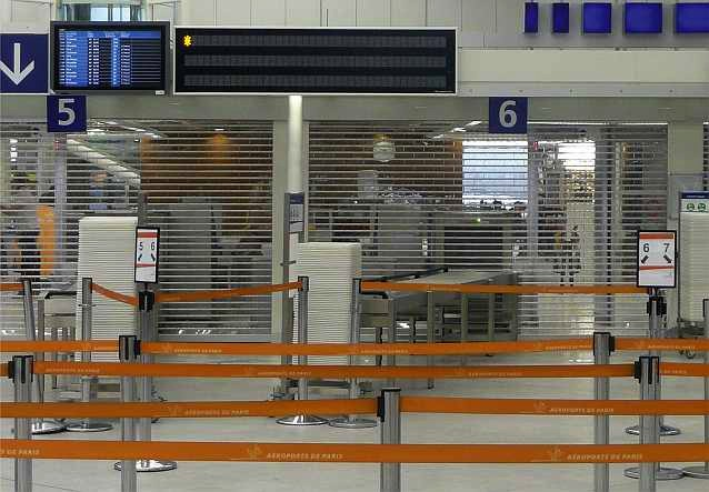 Clearlook roller shutters at airport security.