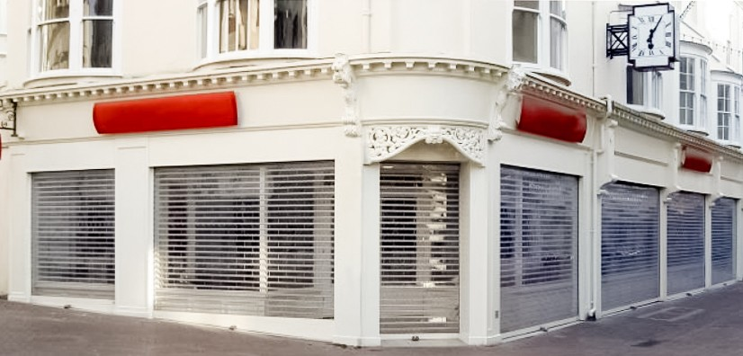 Polycarbonate roller shutters at a jewellery shop-window