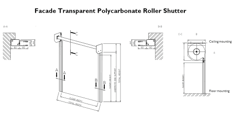 Technical drawing of a roller shutter in plan, profile and isometric views.