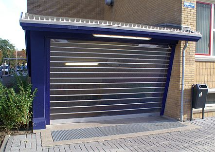 Roller shutter installed at a vertical angle.