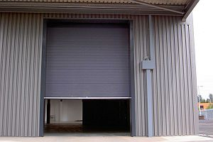 Sectional overhead door on a warehouse.