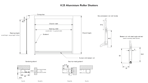 Technical drawing of a K25 aluminium roller shutter with detailed sizes.