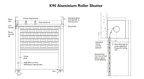 Technical drawing showing a K90 Aluminium Roller Shutter seen from the front and side.