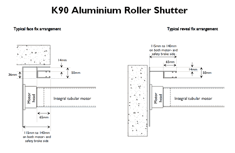 Technical drawing showing a K90 Aluminium Roller Shutter seen from above in plan.