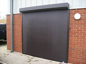 Roller shutter at office entrance.