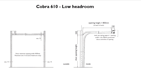 Diagrams showing low headroom, high lift and vertical lift arrangements of the Cobra 610 sectional door.