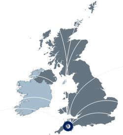 Map of the UK with HVP's location