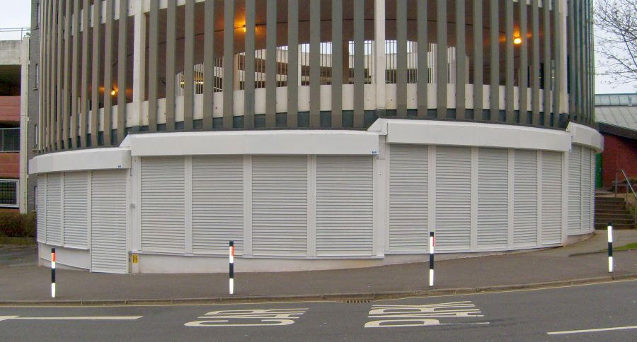 Set of security roller shutters in a semi-circle