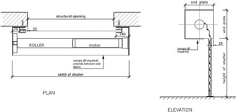 Technical drawing of a tubular motor roller shutter face fix.