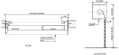Technical drawing of a tubular motor roller shutter reveal fix.