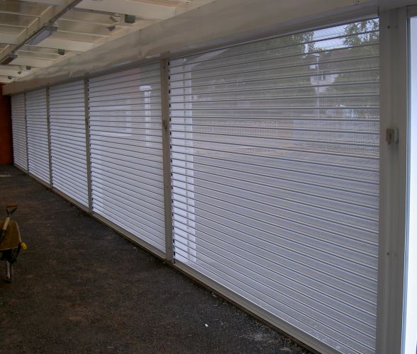 Row of viewguard security roller shutters.